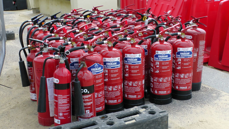 12 fire extinguishers